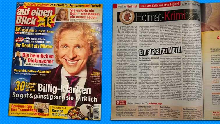 """Erster Heimatkrimi von Ronny Rindler in der Fernsehzeitschrift """"Auf einen Blick"""""""